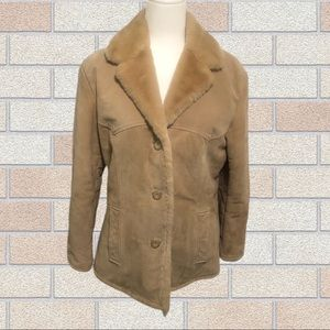 Guess Sherpa Leather Coat, Size M, Tan